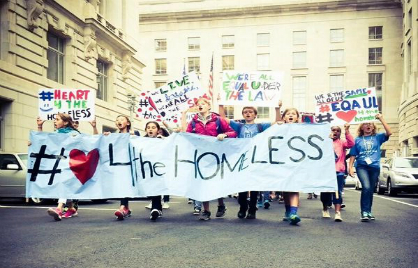 More than 100 Deal MS students and teachers organized and lead a group demonstration in the #Heart4theHomeless rally at Freedom Plaza.
