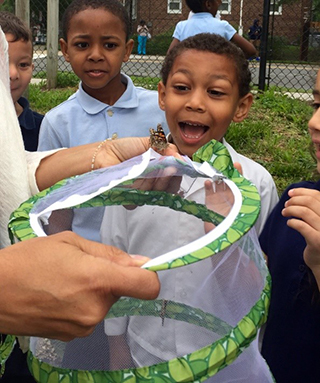 Young students excited by a butterfly