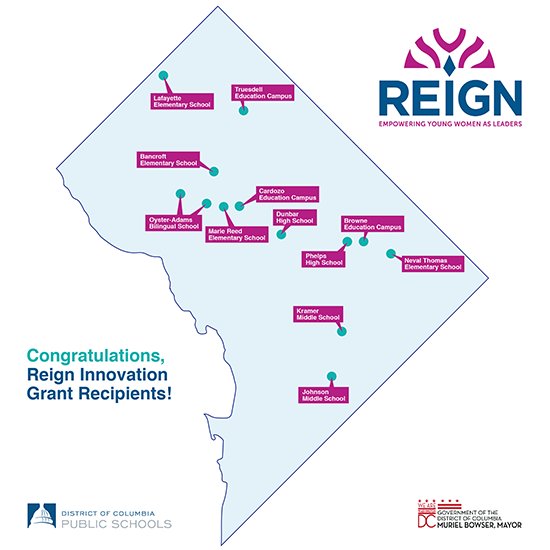 DC map with text: Congratulations Reign Innovation Grant Recipients!