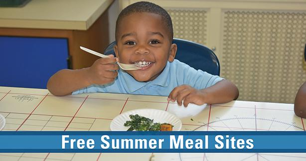 Photo of small boy eating with text: Free Summer Meal Sites