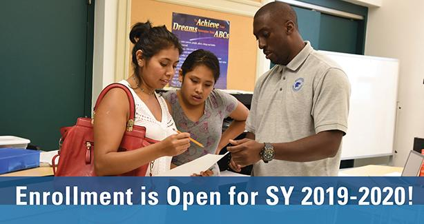 Photo of parent and child talking to a teacher with text: Enrollment is Open for SY 2019-2020