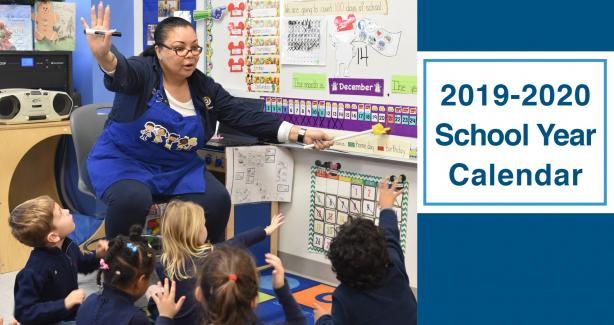 Teacher in front of a classroom with text: 2019-2020 School Calendar