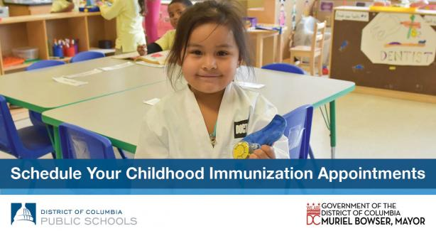 Photo of a young child with text: Schedule Your Childhood Immunization Appointments