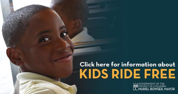 Photo of a boy with text: Get information about Kids Ride Free
