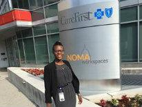 Deja Parker outside her internship location, CareFirst BlueCross BlueShield
