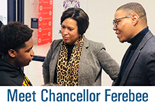Photo of Chancellor Ferebee and Mayor Bowser with text: Meet Chancellor Ferebee
