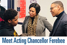 Photo of Chancellor Ferebee and Mayor Bowser with text: Meet Acting Chancellor Ferebee