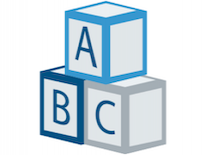 Logo with blue building blocks that read A B C